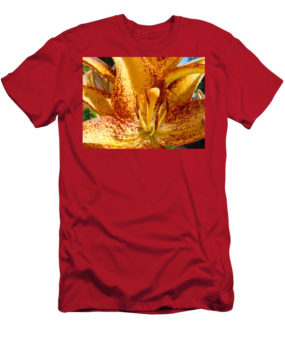 Lilies Men's T-Shirt (Athletic Fit) featuring the photograph Lily Flower Macro Orange Lilies Floral Art Print Baslee Troutman by Baslee Troutman