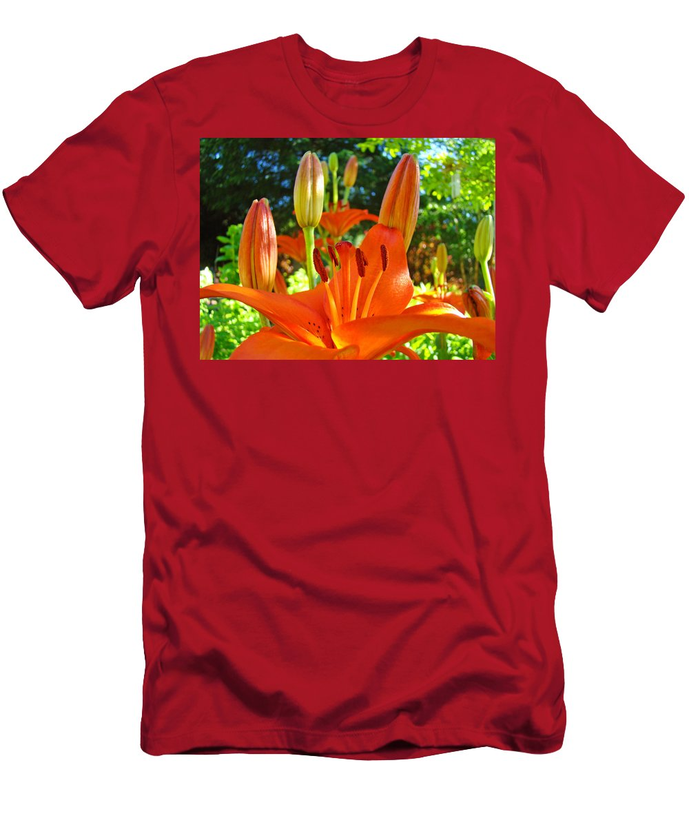 Lilies Men's T-Shirt (Athletic Fit) featuring the photograph Lily Flowers Garden Art Prints Orange Lilies Floral Baslee Troutman by Baslee Troutman