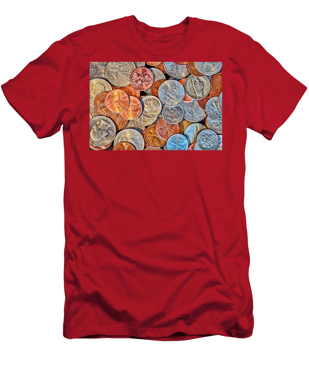 Coin Men's T-Shirt (Athletic Fit) featuring the photograph Loose Change by Joe Geraci