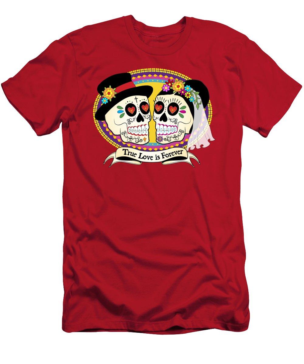 Sugar Skull Wedding Men's T-Shirt (Athletic Fit) featuring the digital art Los Novios Sugar Skulls by Tammy Wetzel