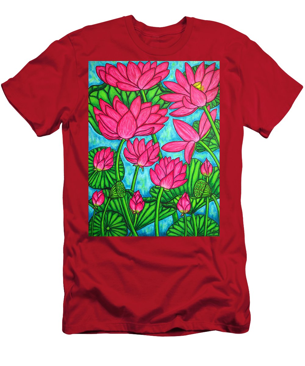 T-Shirt featuring the painting Lotus Bliss by Lisa Lorenz