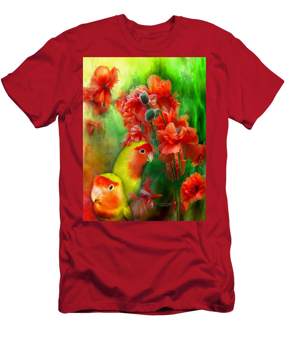 Lovebird Men's T-Shirt (Athletic Fit) featuring the mixed media Love Among The Poppies by Carol Cavalaris