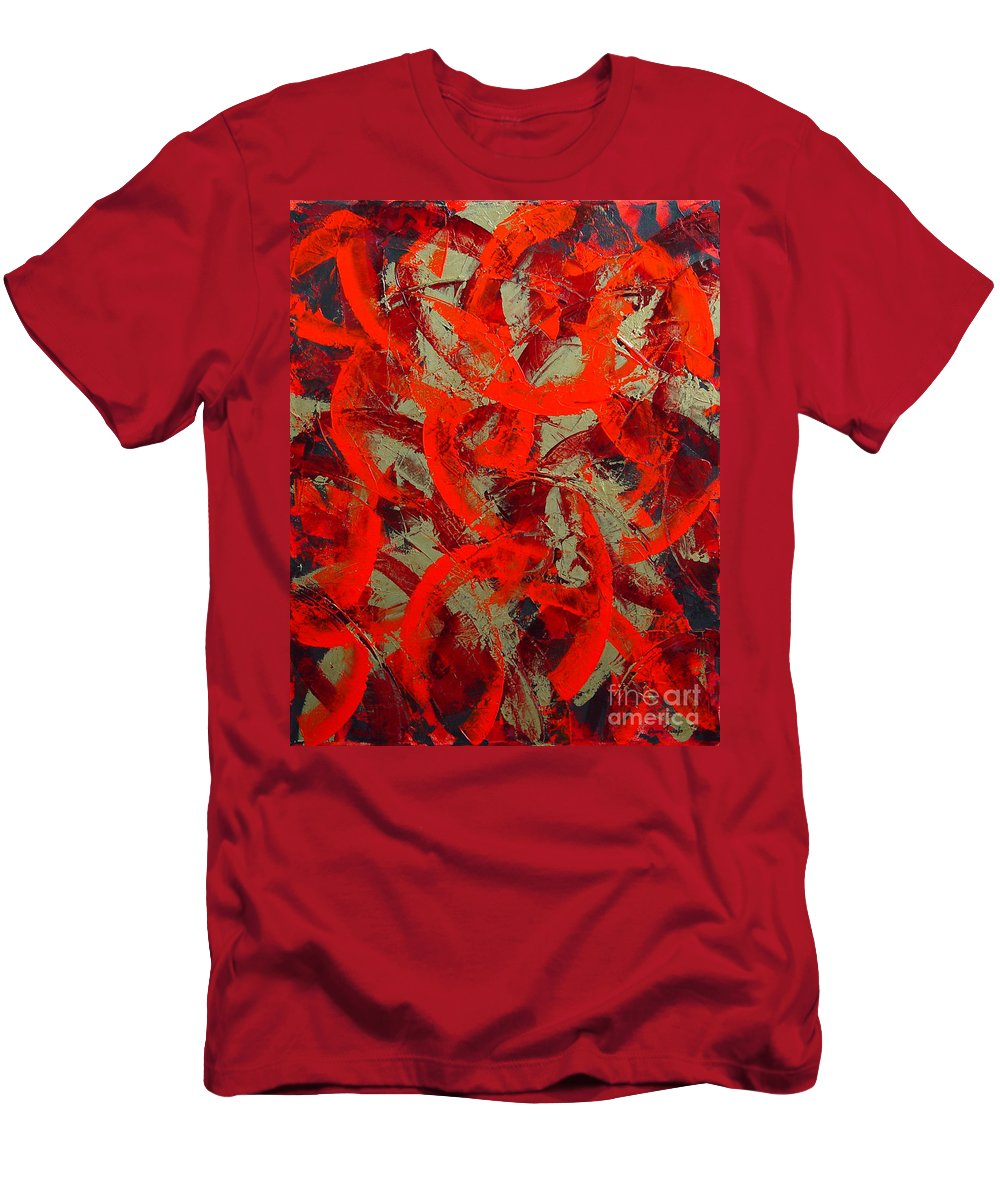 Abstract Men's T-Shirt (Athletic Fit) featuring the painting Love Trails by Dean Triolo
