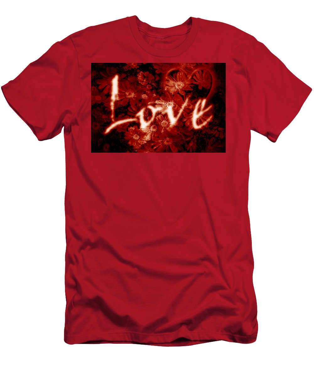 Love Men's T-Shirt (Athletic Fit) featuring the photograph Love With Flowers by Phill Petrovic