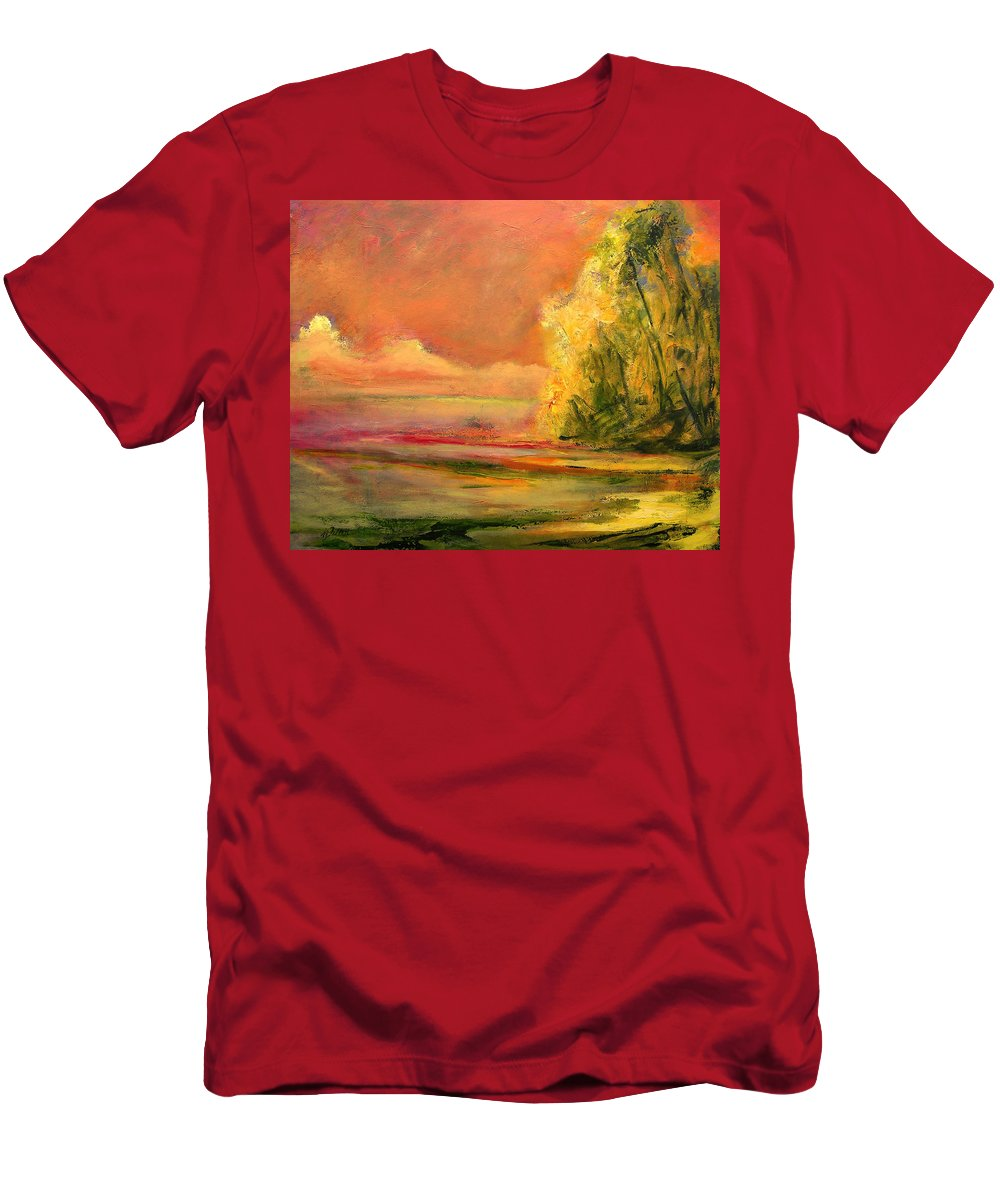 Large Canvas Reproductions Men's T-Shirt (Athletic Fit) featuring the painting Luminous Sunset 2-16-06 Julianne Felton by Julianne Felton