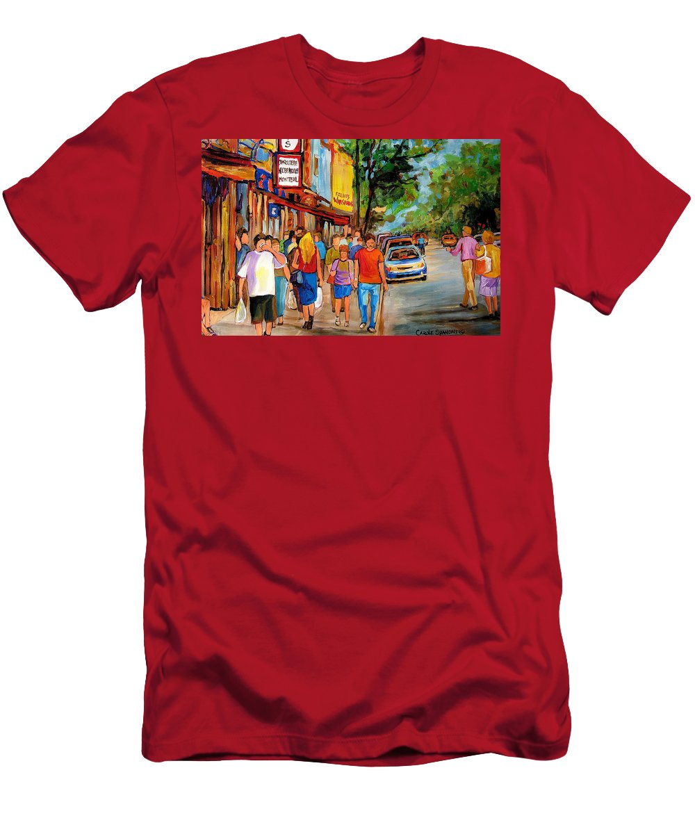 Montreal Streetscenes Men's T-Shirt (Athletic Fit) featuring the painting Lunchtime On Mainstreet by Carole Spandau
