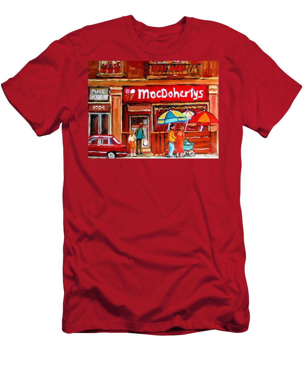 Macdohertys Men's T-Shirt (Athletic Fit) featuring the painting Macdohertys Icecream Parlor by Carole Spandau