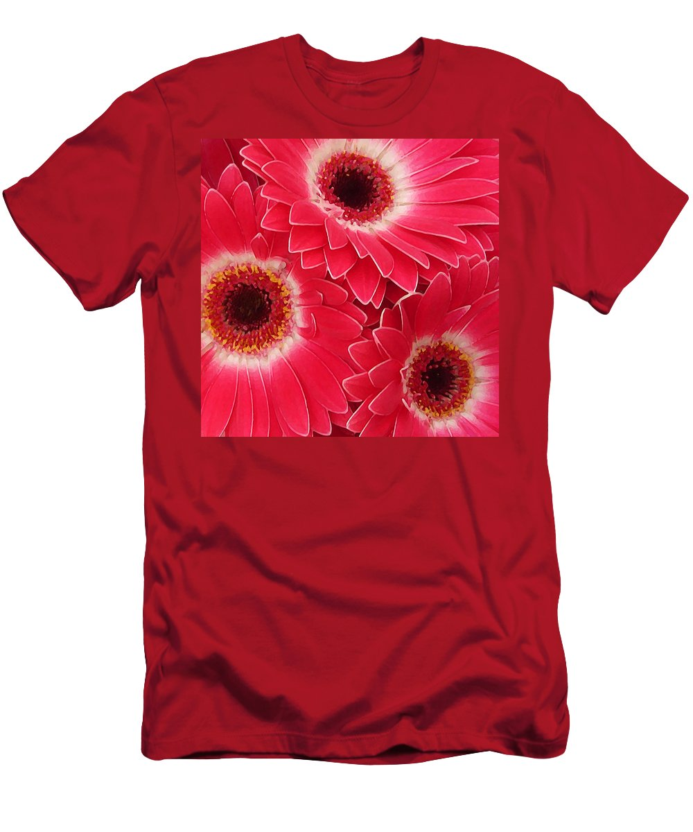Daisy Men's T-Shirt (Athletic Fit) featuring the painting Magenta Gerber Daisies by Amy Vangsgard