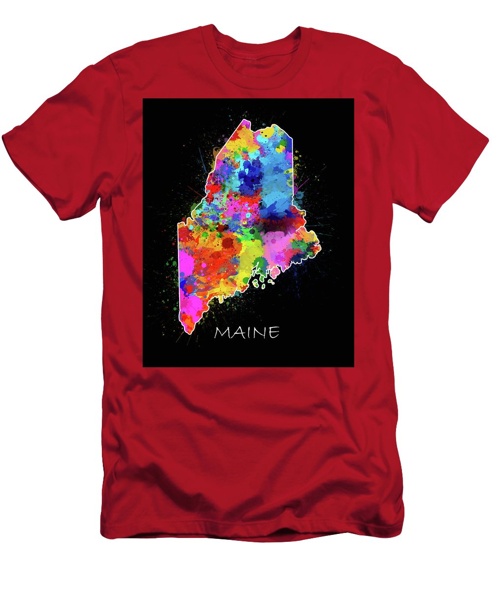 Maine Men's T-Shirt (Athletic Fit) featuring the digital art Maine Map Color Splatter 2 by Bekim Art