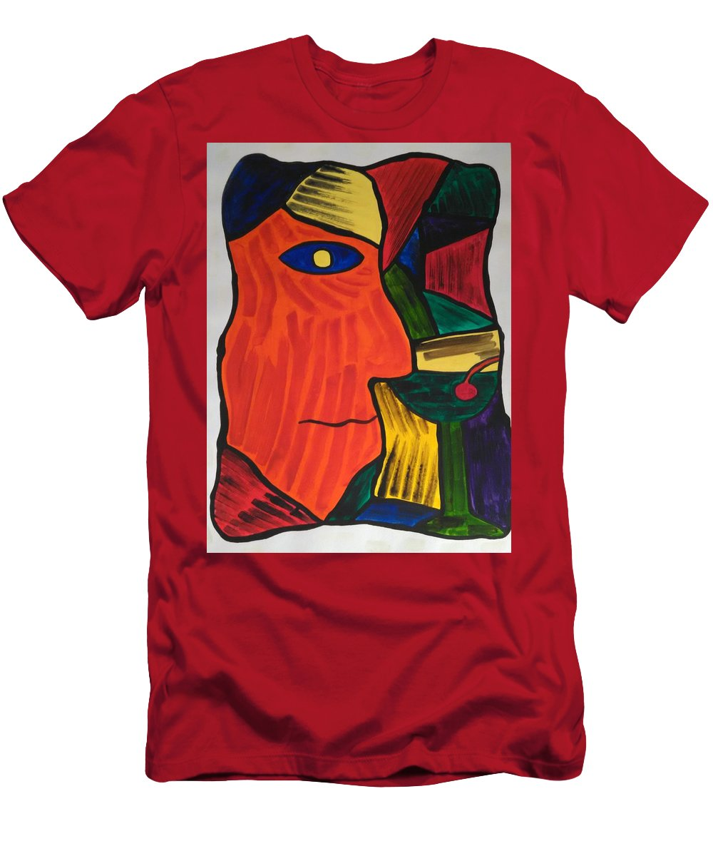 Abstract Men's T-Shirt (Athletic Fit) featuring the painting Man With Martini Glass by Ieva Unda