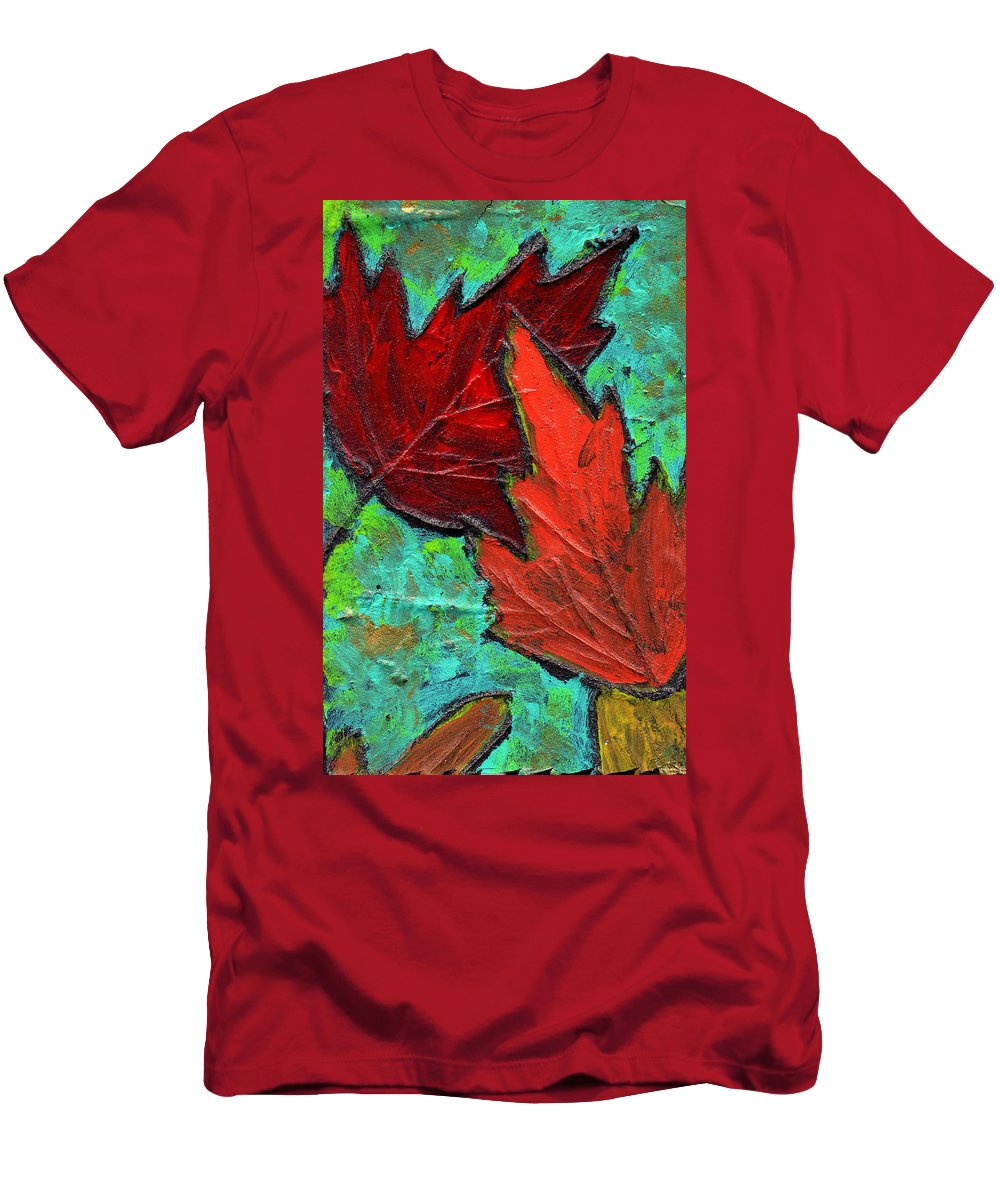 Maple Men's T-Shirt (Athletic Fit) featuring the painting Maple Leaves by Wayne Potrafka