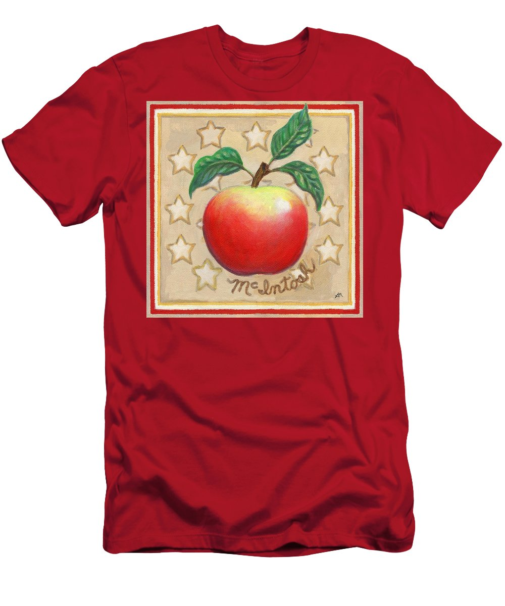 Apple Men's T-Shirt (Athletic Fit) featuring the painting Mcintosh Apple Two by Linda Mears