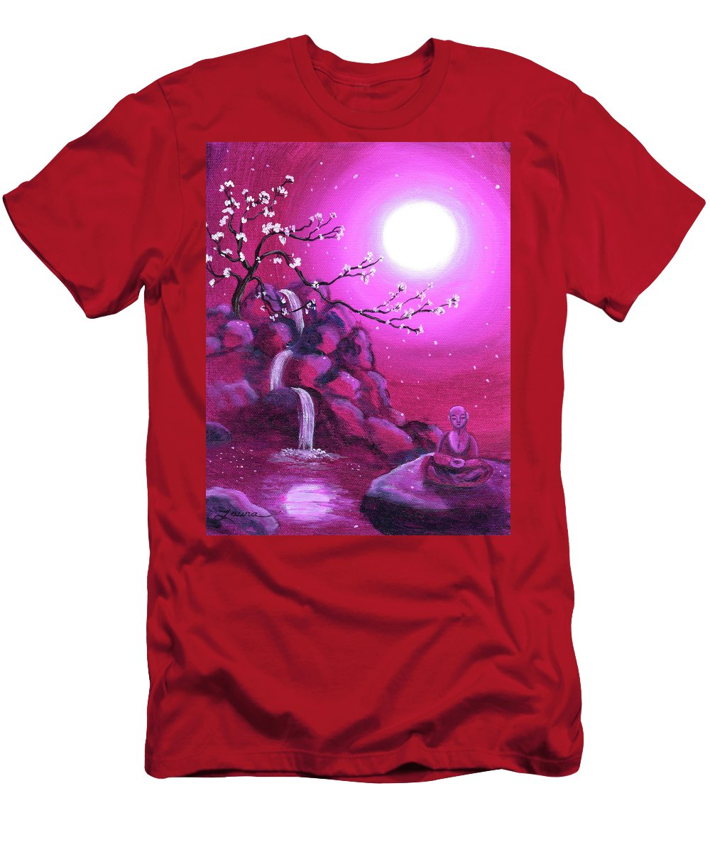 Landscape Men's T-Shirt (Athletic Fit) featuring the painting Meditating While Cherry Blossoms Fall by Laura Iverson