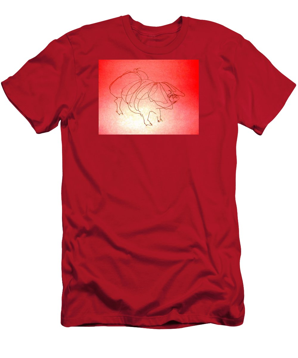 Pig Men's T-Shirt (Athletic Fit) featuring the drawing Meishan Sow 3 by Larry Campbell