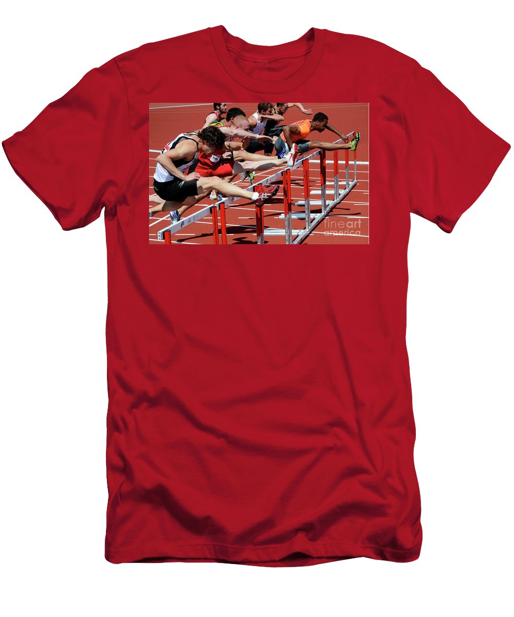 Canadian Track And Field National Championships 2011 Men's T-Shirt (Athletic Fit) featuring the photograph Mens Hurdles 2 by Bob Christopher