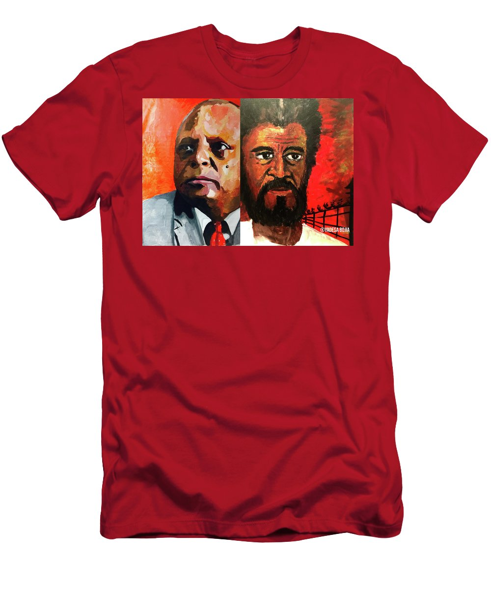 Men's T-Shirt (Athletic Fit) featuring the painting Merera Bekele by Yadesa Bojia