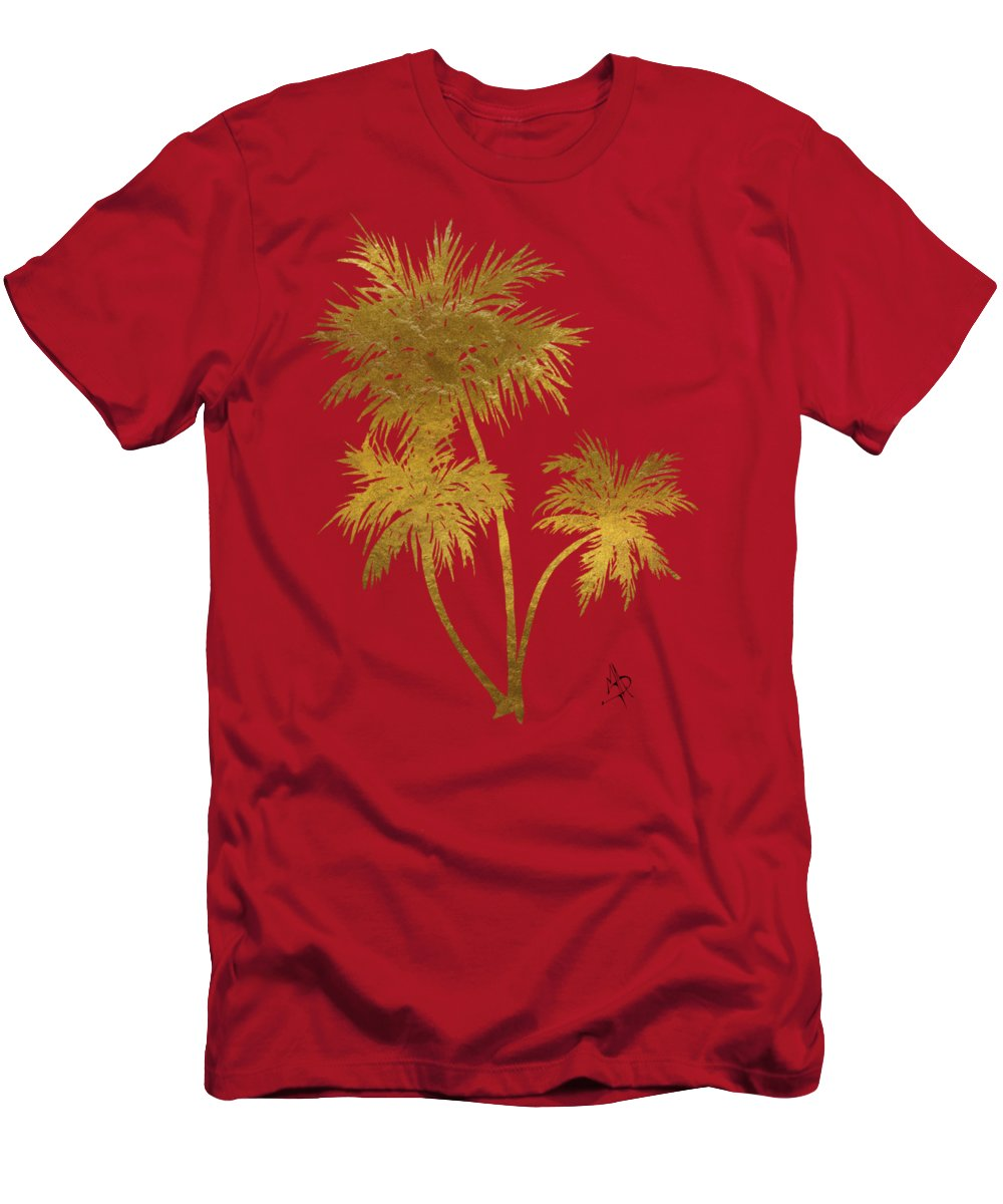 Tropical Men's T-Shirt (Athletic Fit) featuring the painting Metallic Gold Palm Trees Tropical Trendy Art by Megan Duncanson