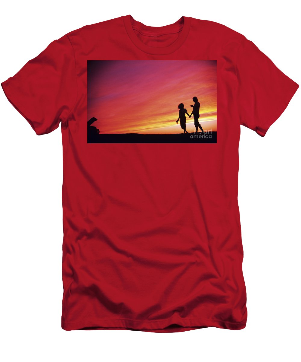 Beautiful Men's T-Shirt (Athletic Fit) featuring the photograph Mexico Couple Walking by Larry Dale Gordon - Printscapes