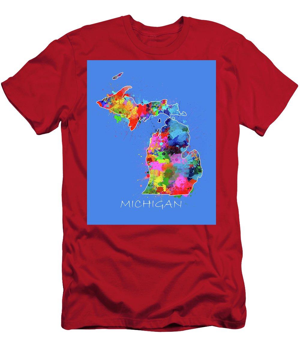 Michigan Men's T-Shirt (Athletic Fit) featuring the digital art Michigan Map Color Splatter 3 by Bekim Art
