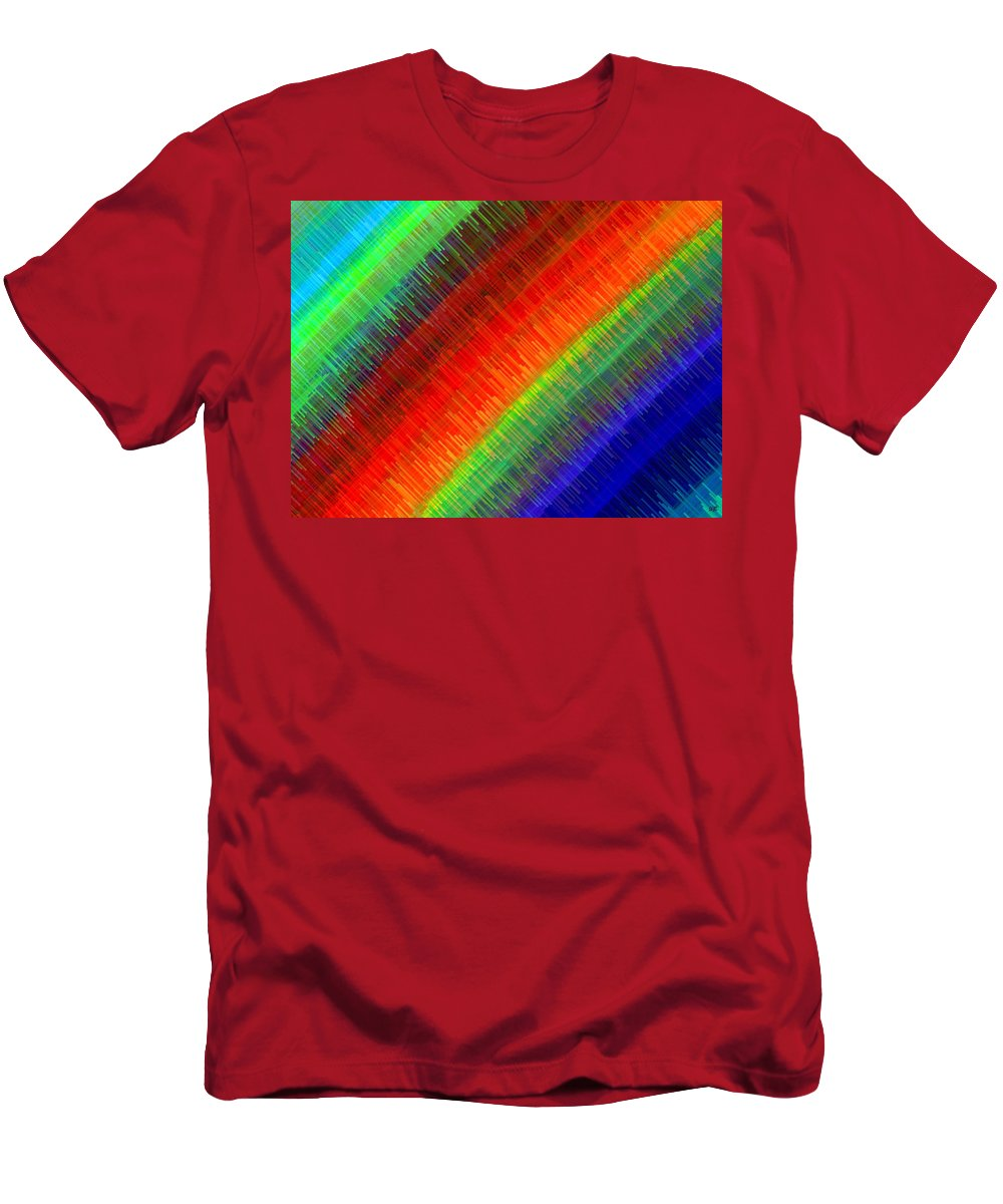 Micro Linear Men's T-Shirt (Athletic Fit) featuring the digital art Micro Linear Rainbow by Will Borden