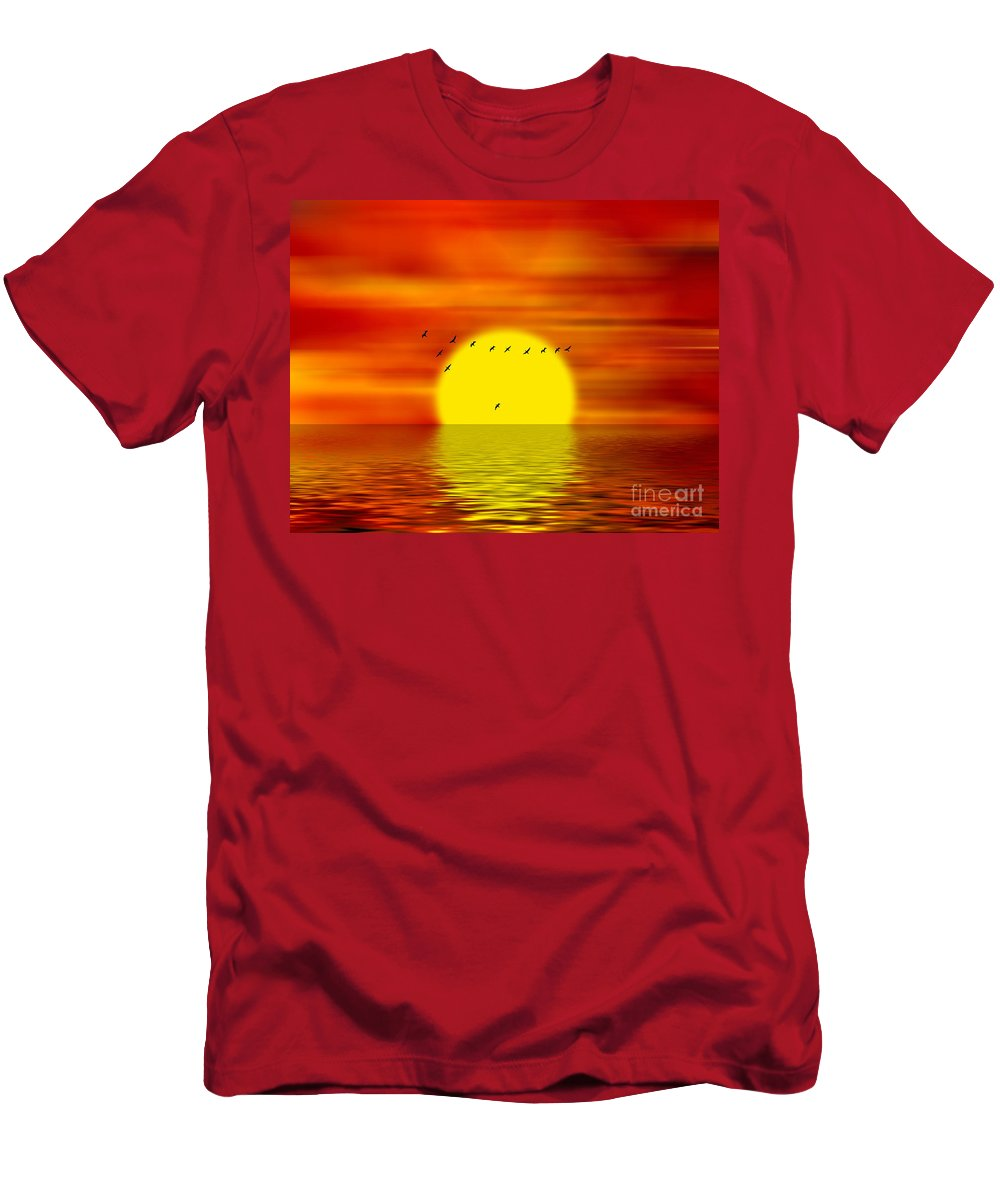 Sunset Men's T-Shirt (Athletic Fit) featuring the digital art Migrating Birds by Michal Boubin