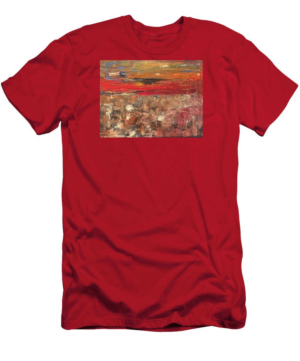 Miles To Go Men's T-Shirt (Athletic Fit) featuring the painting Miles To Go by Edward Paul