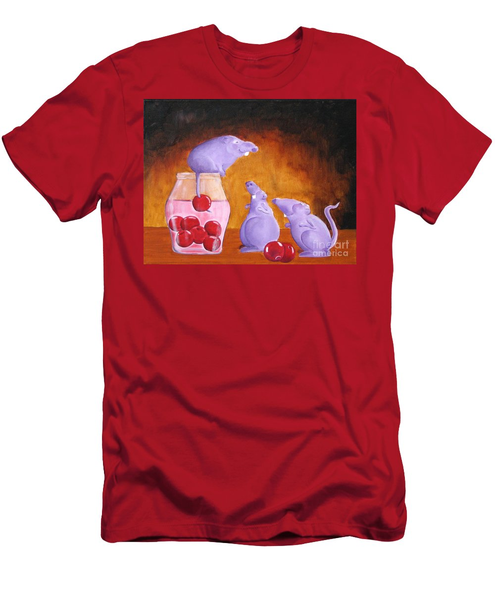 Mice Men's T-Shirt (Athletic Fit) featuring the painting Mioummmmmmmmmm Cherriesssssssssss by Line Gagne
