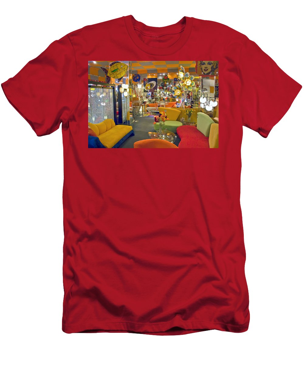 Modern Deco Furniture Store Interior Men's T-Shirt (Athletic Fit) featuring the photograph Modern Deco Furniture Store Interior by David Zanzinger