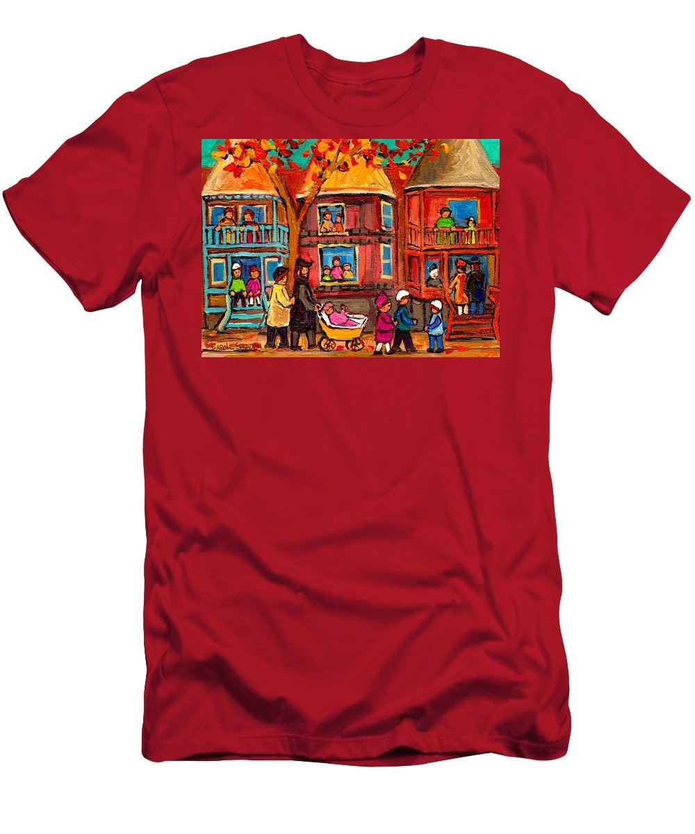 Montreal Men's T-Shirt (Athletic Fit) featuring the painting Montreal Early Autumn by Carole Spandau