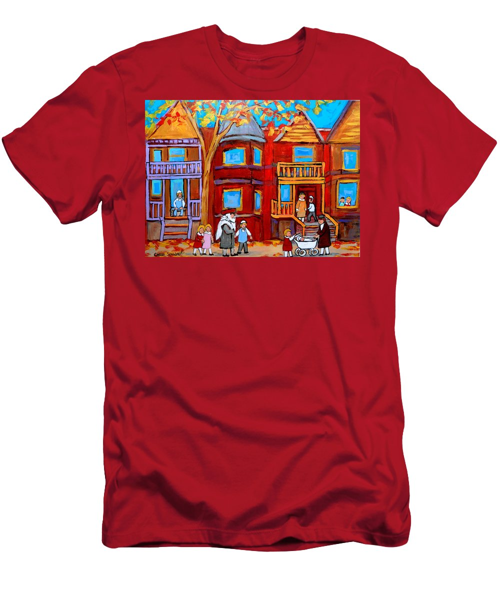 Outremont Men's T-Shirt (Athletic Fit) featuring the painting Montreal Memories Of Zaida And The Family by Carole Spandau