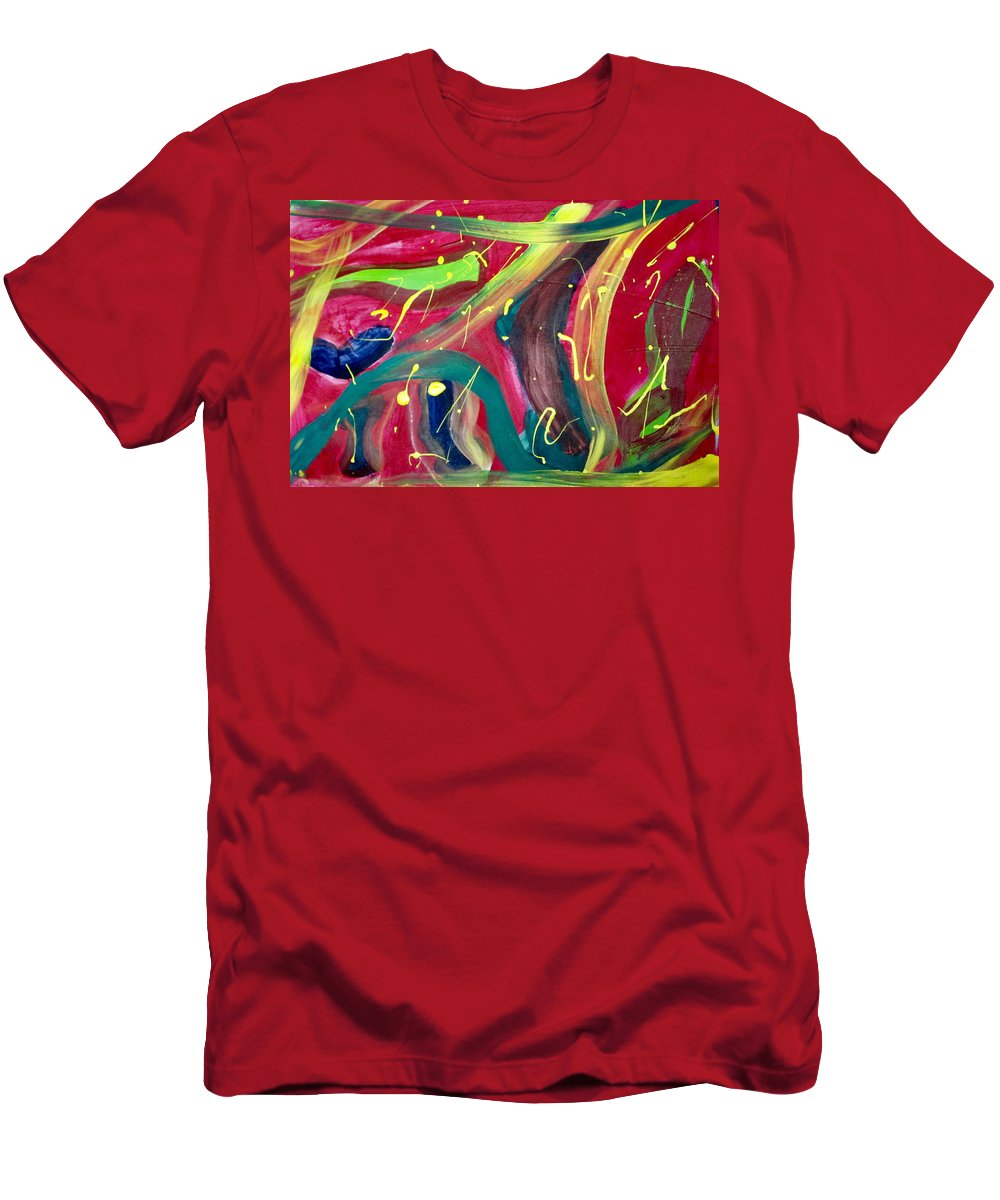 Red Men's T-Shirt (Athletic Fit) featuring the painting Motion by Cheryl Viering