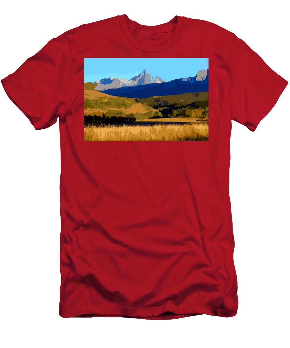 Mountains Men's T-Shirt (Athletic Fit) featuring the painting Mountain Country by David Lee Thompson