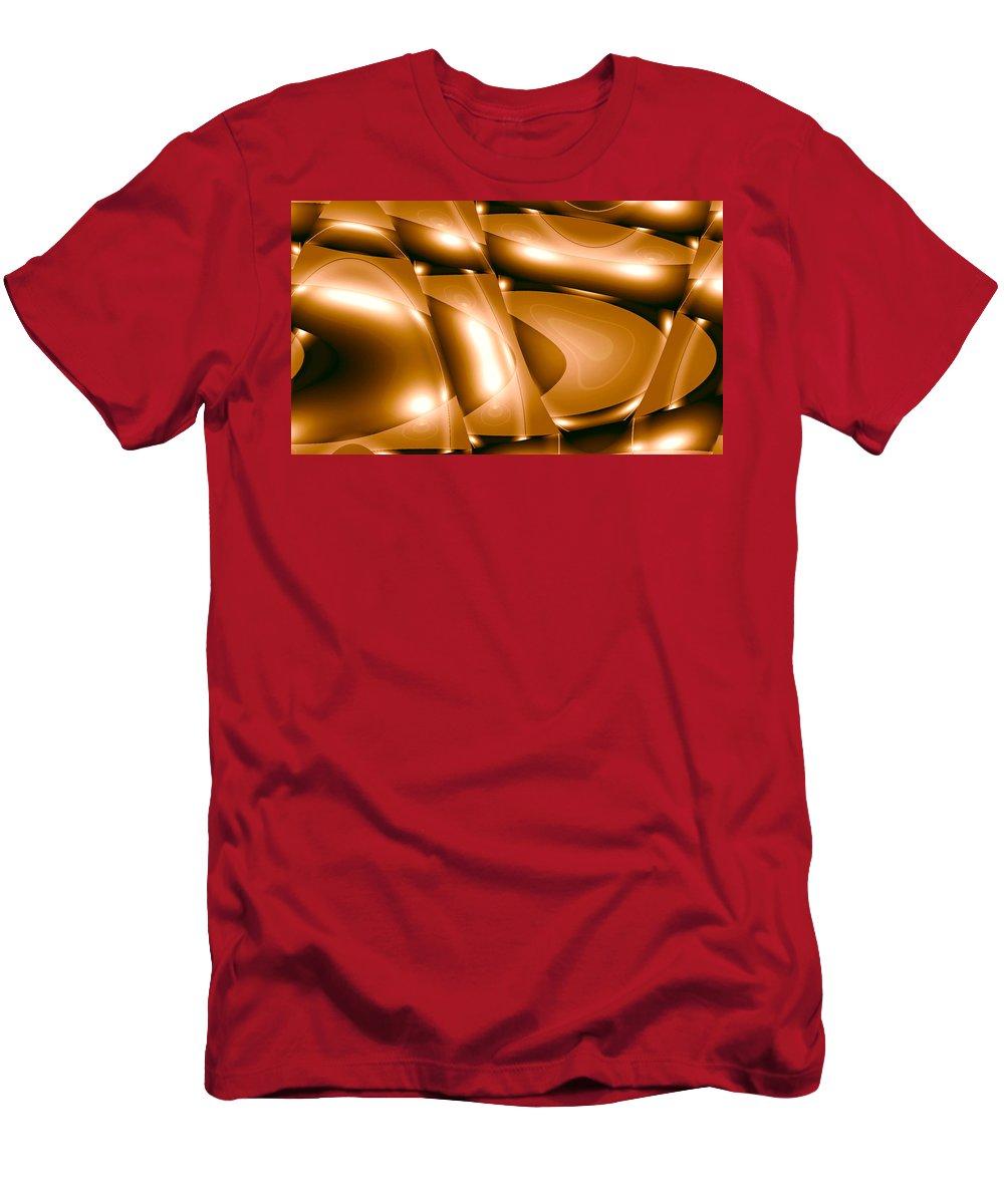 Moveonart! New York / San Francisco / Oklahoma / Portland / Missoual Jacob Kanduch Men's T-Shirt (Athletic Fit) featuring the digital art Moveonart Inverted Minimal Wave And Light In Amber by Jacob Kanduch