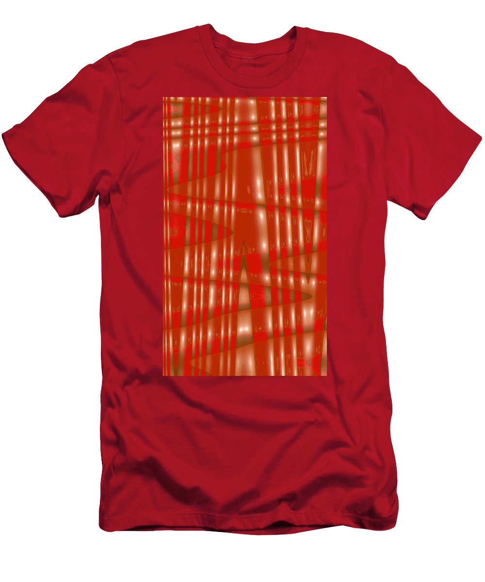 Moveonart! Digital Gallery Lower Nob Hill San Francisco California Jacob Kanduch Men's T-Shirt (Athletic Fit) featuring the digital art Moveonart Red Gold Protection by Jacob Kanduch