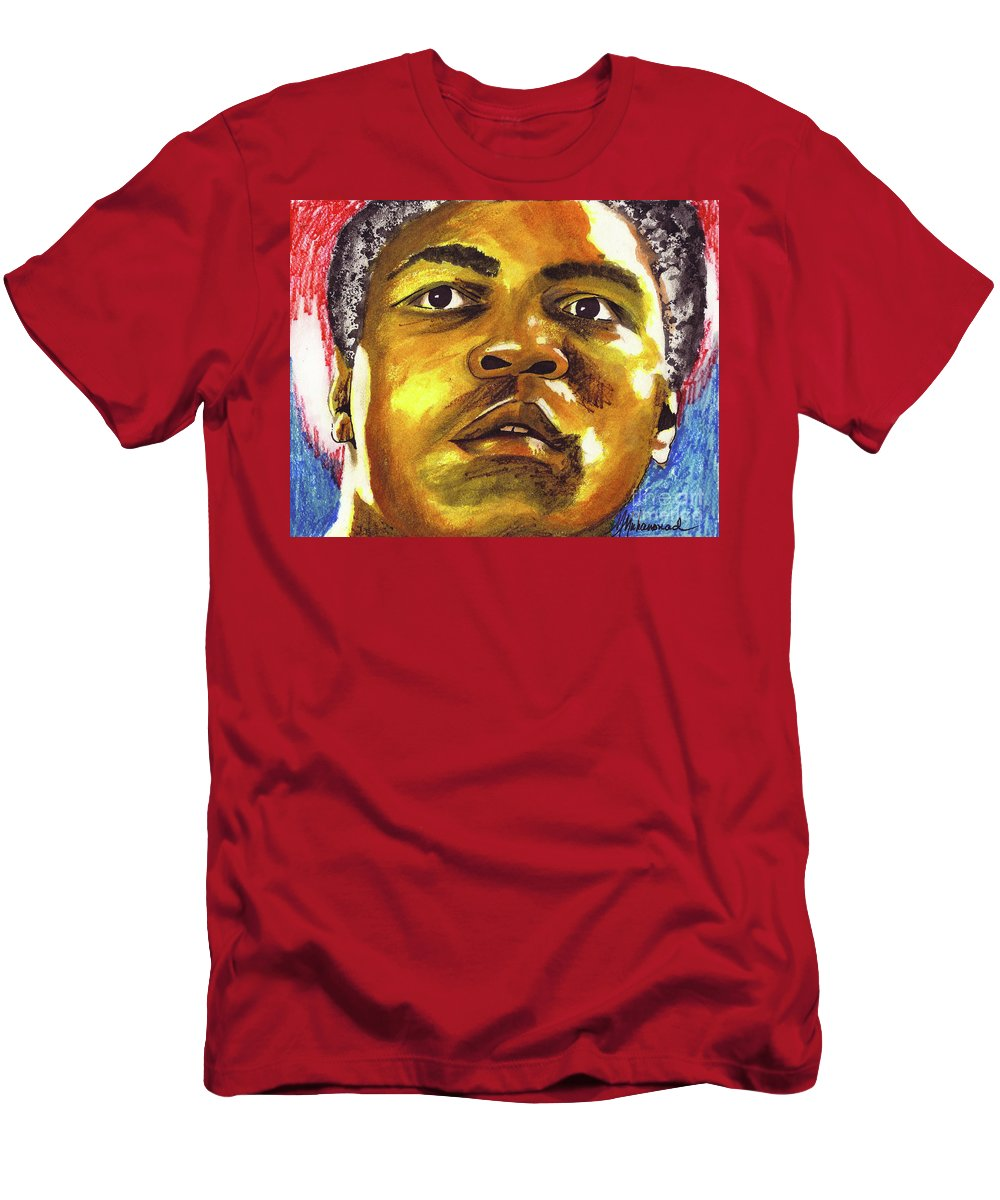 Male Men's T-Shirt (Athletic Fit) featuring the painting Muhammad Ali by Marcella Muhammad