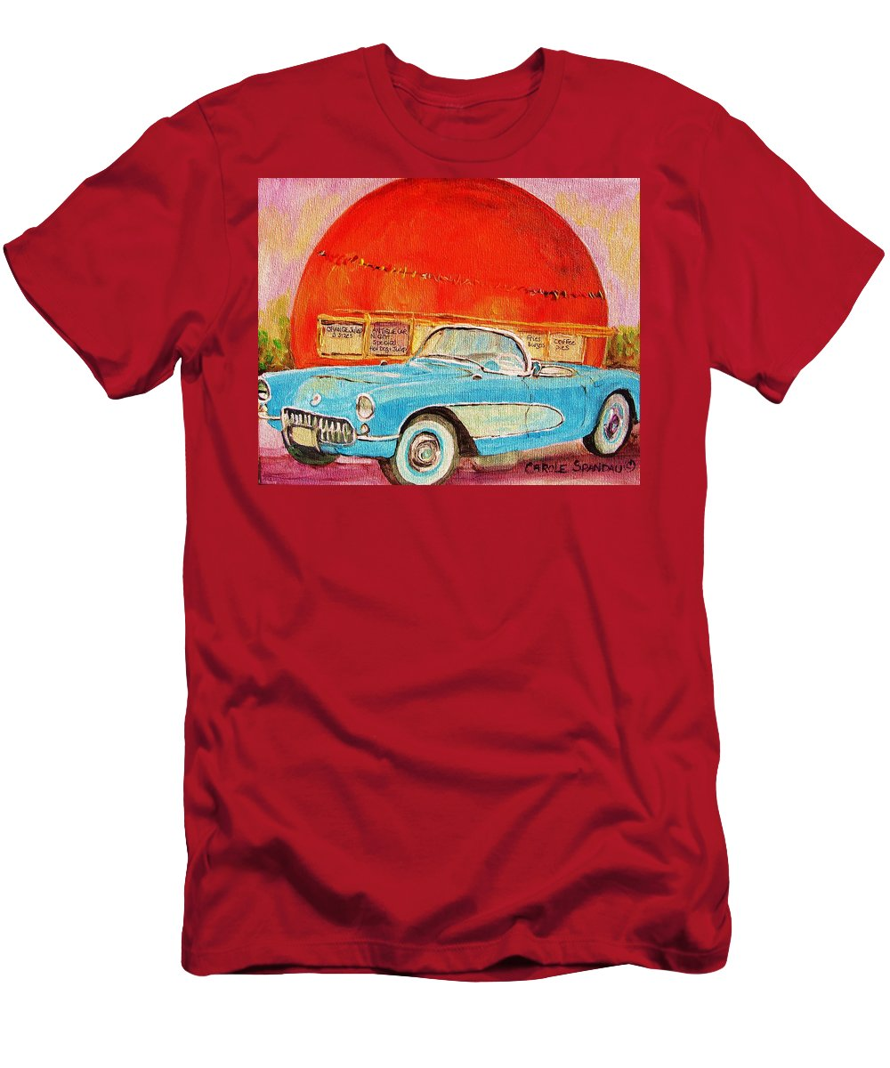 Montreal T-Shirt featuring the painting My Blue Corvette at the Orange Julep by Carole Spandau