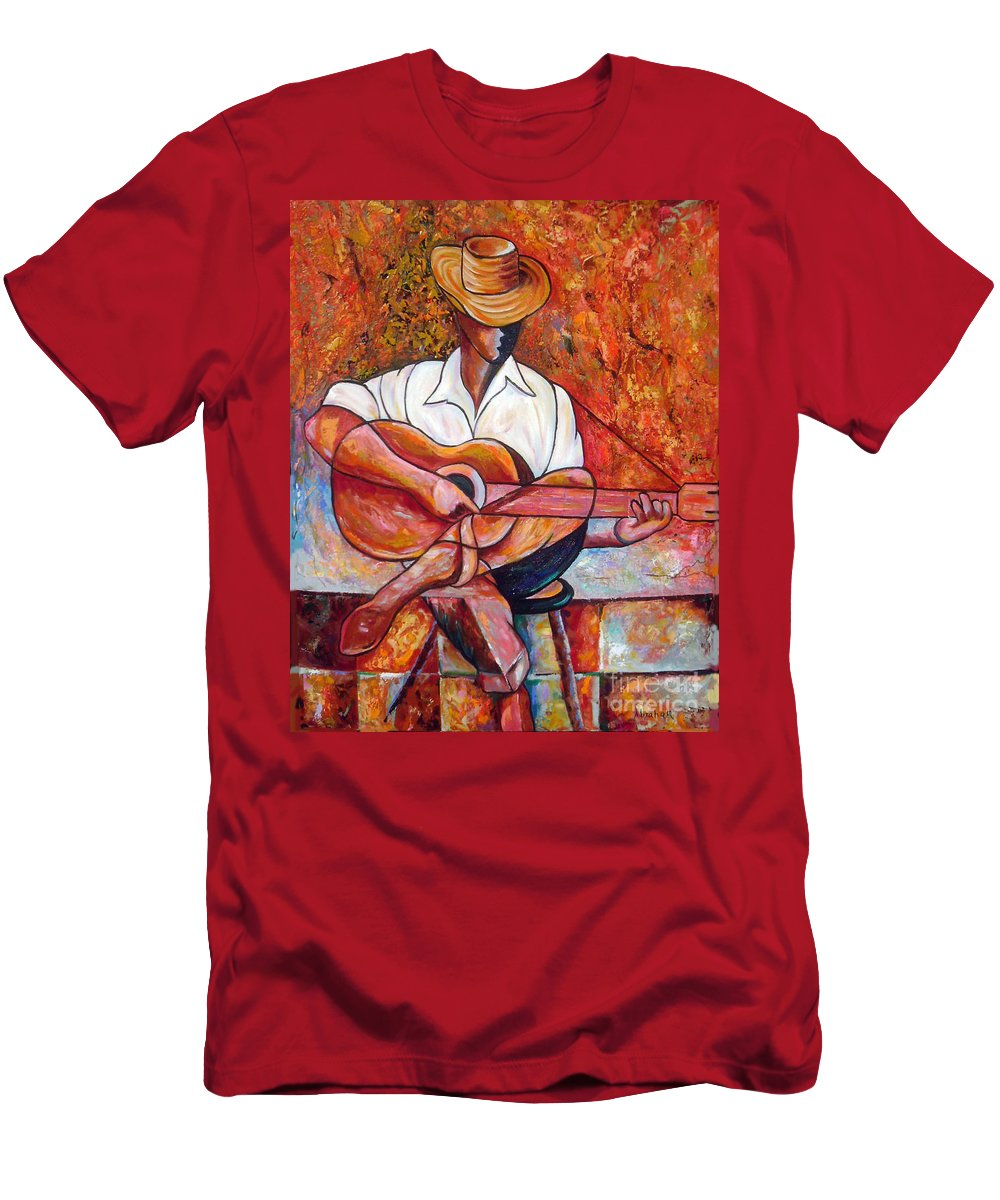 Cuba Art Men's T-Shirt (Athletic Fit) featuring the painting My Guitar by Jose Manuel Abraham