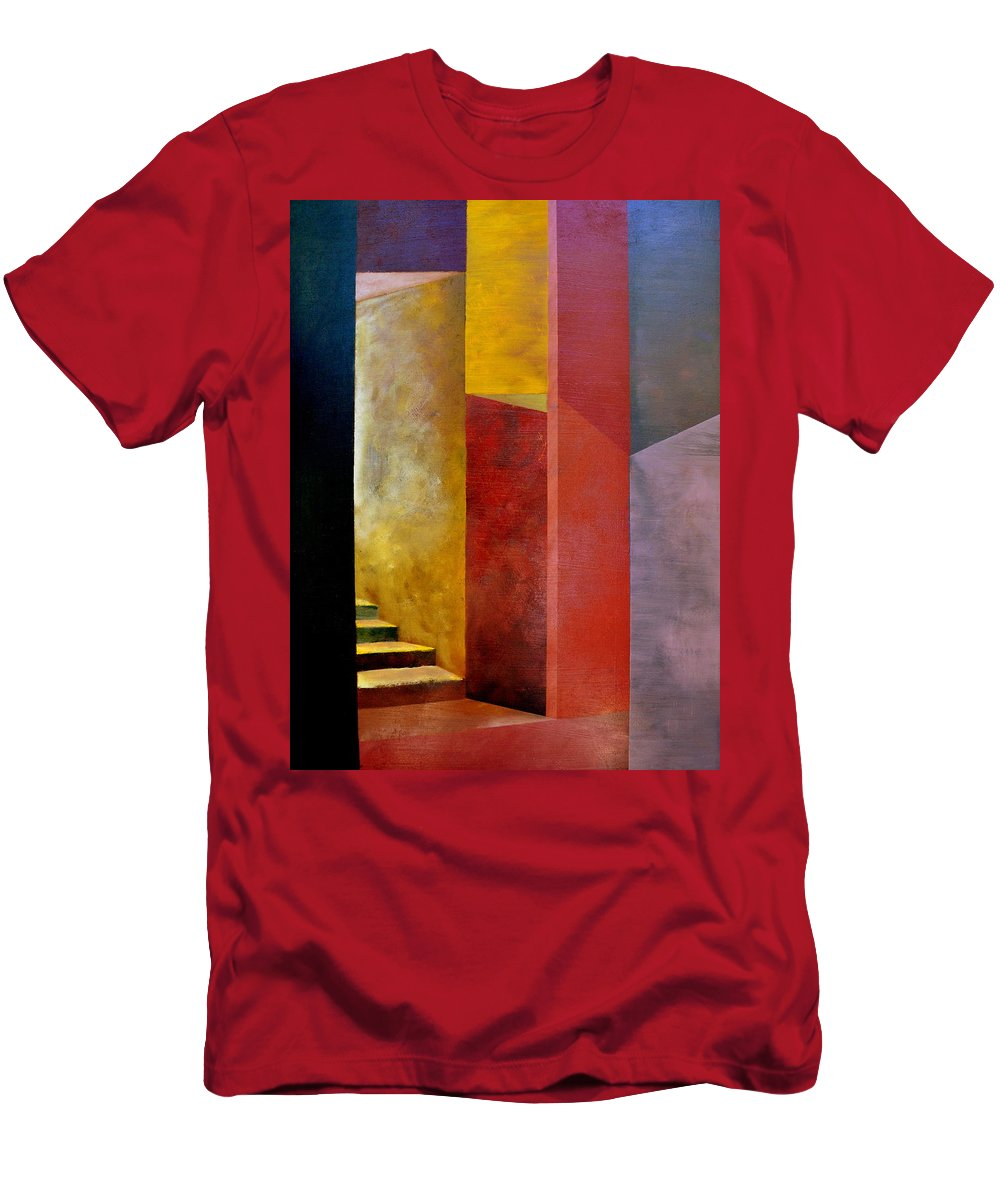 Gold T-Shirt featuring the painting Mystery Stairway by Michelle Calkins