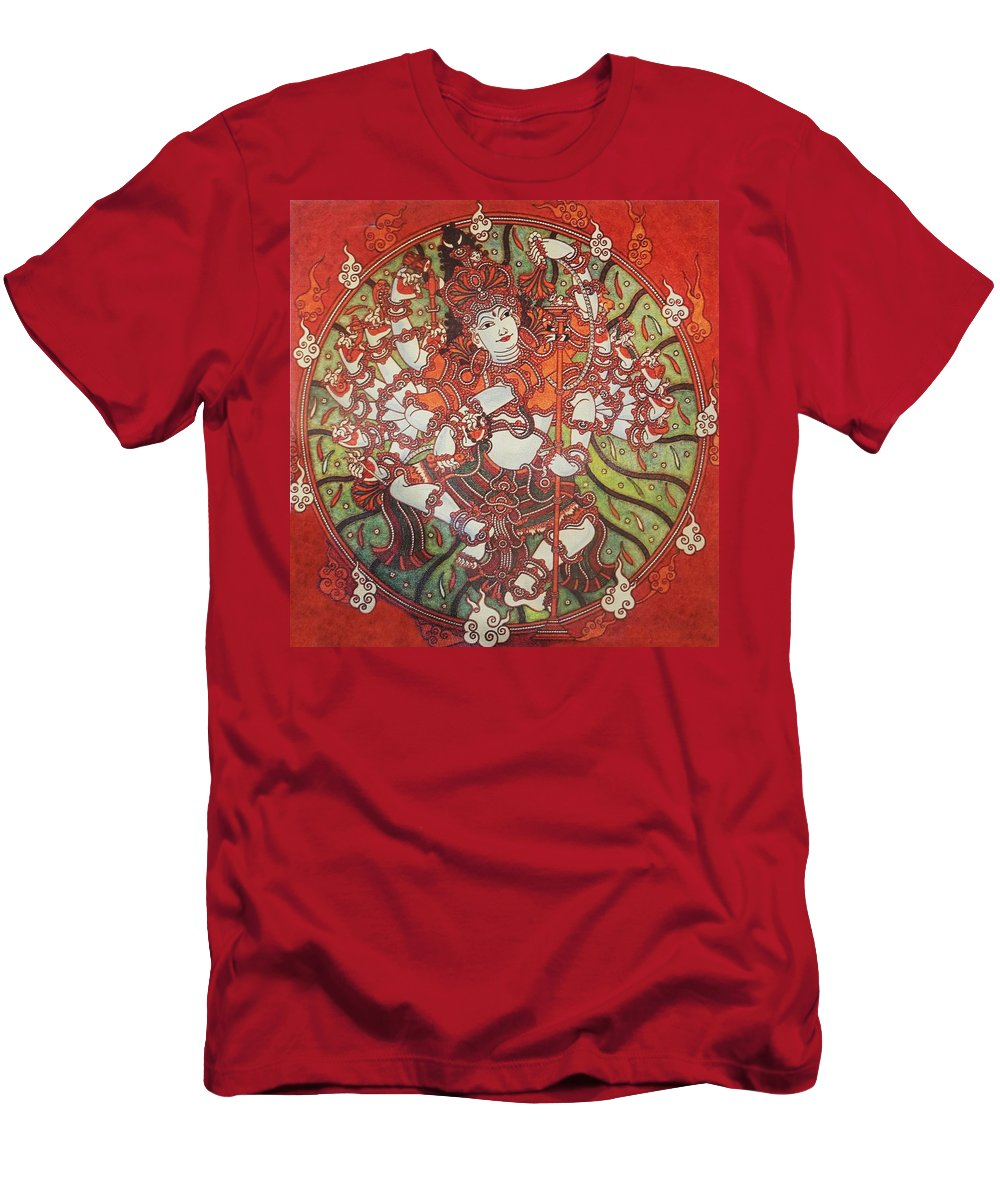 Tamil Men's T-Shirt (Athletic Fit) featuring the painting Nataraja Mural by Arun Sivaprasad