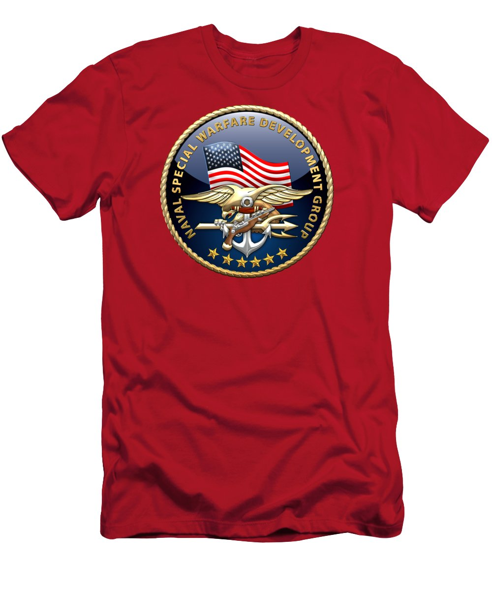 Naval Special Warfare Development Group - D E V G R U - Emblem On Red Men's  T-Shirt (Athletic Fit)