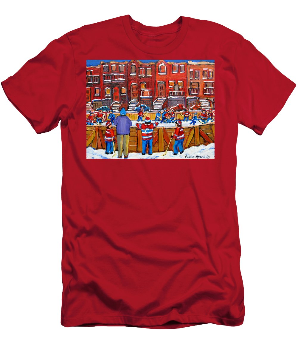 Hockeygame At The Neighborhood Rink Men's T-Shirt (Athletic Fit) featuring the painting Neighborhood Hockey Rink by Carole Spandau