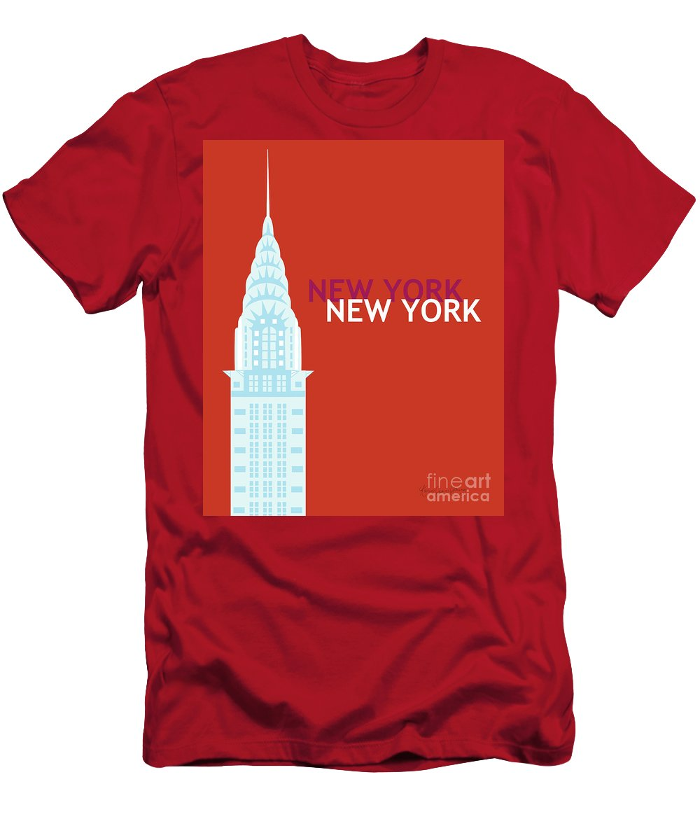 New York Men's T-Shirt (Athletic Fit) featuring the digital art New York Vertical Scene - Chrysler Building by Karen Young