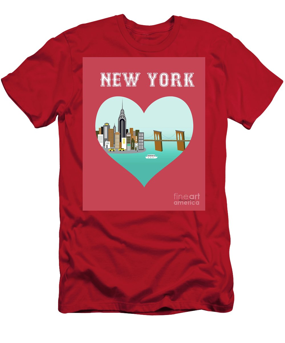New York Men's T-Shirt (Athletic Fit) featuring the digital art New York Vertical Skyline - Heart by Karen Young