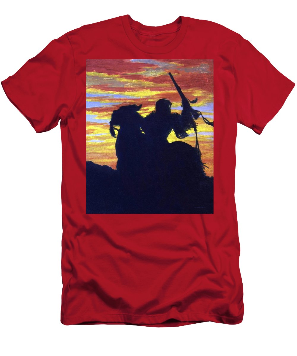 American Indian Men's T-Shirt (Athletic Fit) featuring the painting Night Rider by Chris Burton