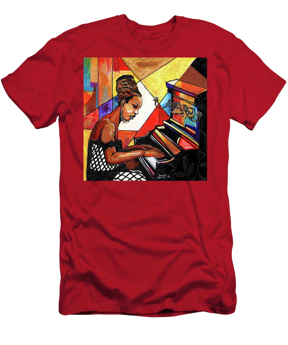 Everett Spruill T-Shirt featuring the mixed media Nina Simone by Everett Spruill