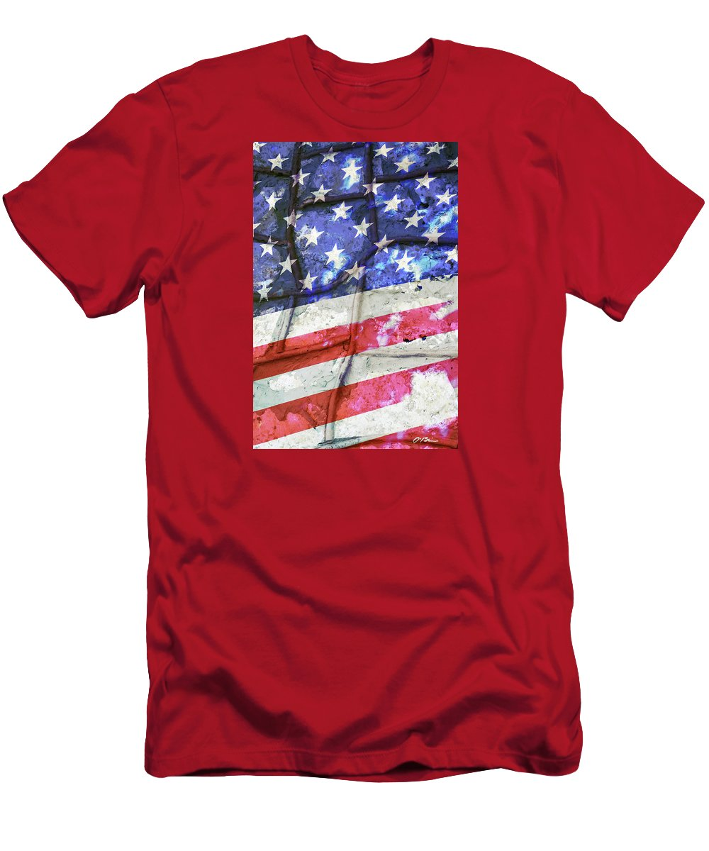 Flag Men's T-Shirt (Athletic Fit) featuring the digital art No Matter What Divides Us by Claudia O'Brien
