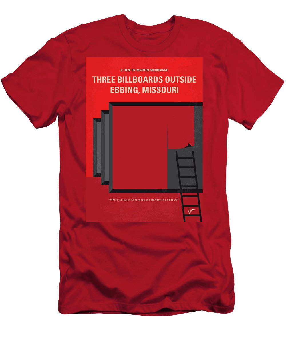 Three Men's T-Shirt (Athletic Fit) featuring the digital art No900 My Three Billboards Minimal Movie Poster by Chungkong Art