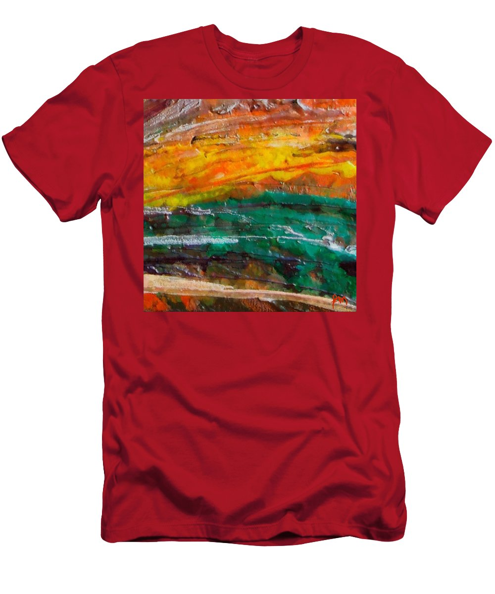 Nobody Landscape Men's T-Shirt (Athletic Fit) featuring the painting Nobody Landscape by Dragica Micki Fortuna