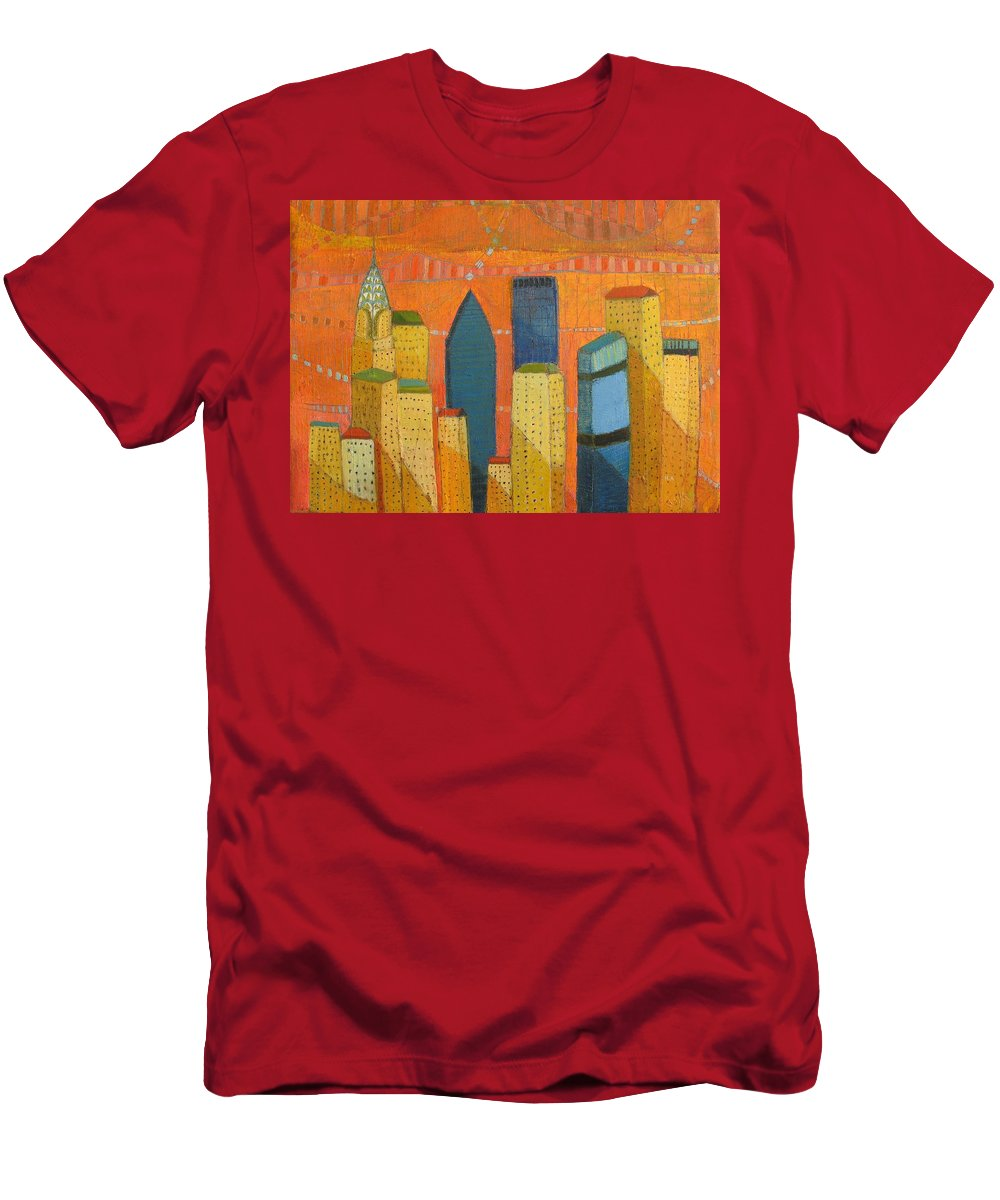 Abstract Cityscape Men's T-Shirt (Athletic Fit) featuring the painting Nyc With Chrysler by Habib Ayat