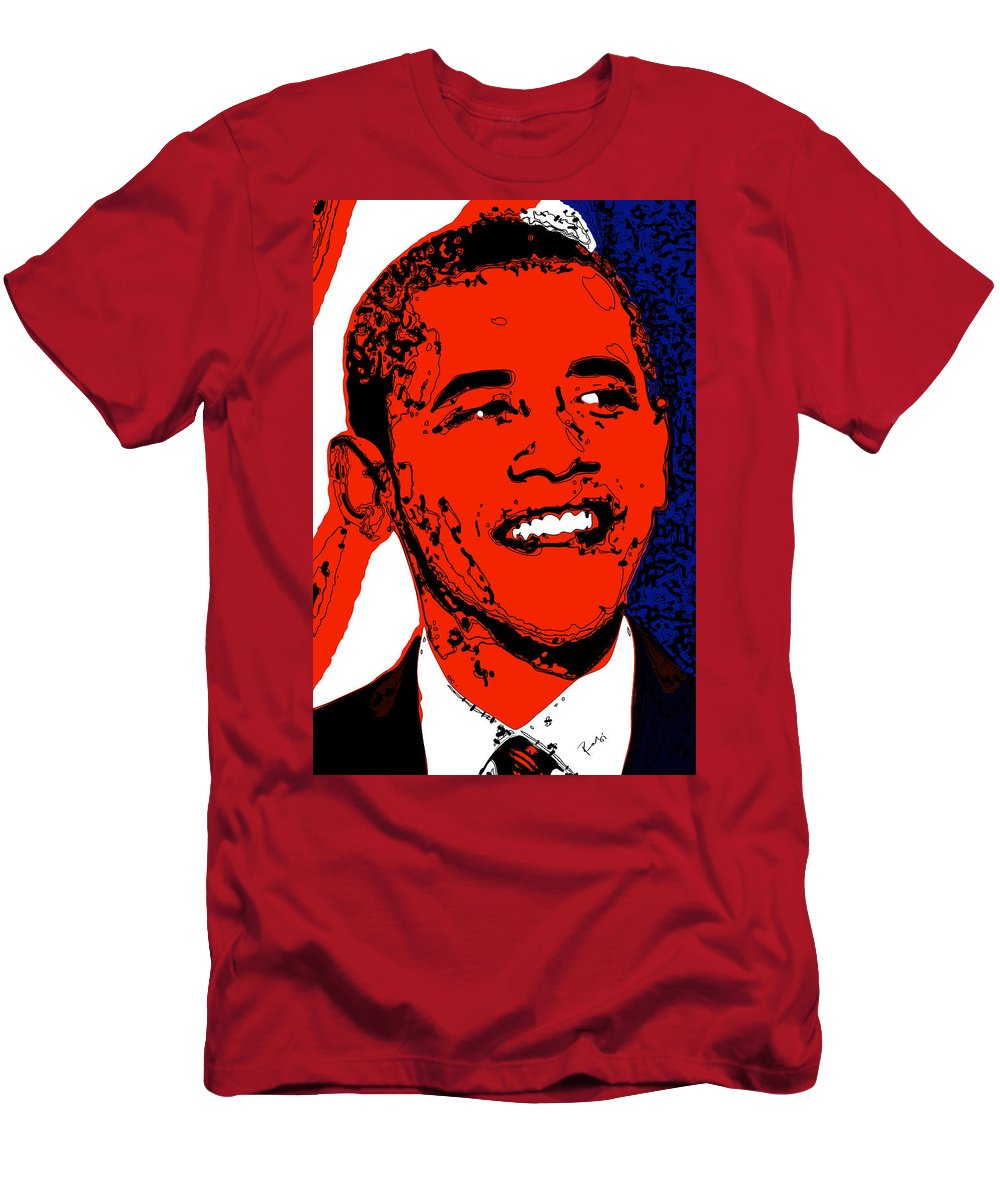 African Men's T-Shirt (Athletic Fit) featuring the digital art Obama Hope by Rabi Khan